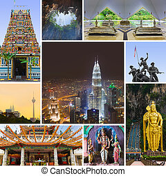 Collage of Kuala Lumpur Malaysia images - nature and tourism...