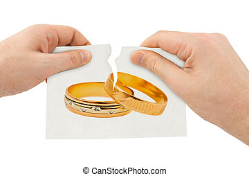 Hands tear picture with wedding rings isolated on white...