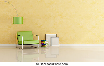 reading room - modern green armchair against stucco wall...