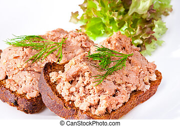 pate on bowl with bread and green salad