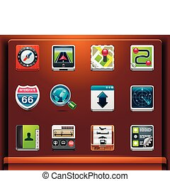 GPS navigation icons - Mobile devices apps/services icons....