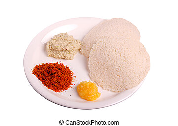 Idli with chutney, ghee and chutney powder