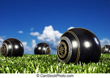 Close up of bowling balls on a bowling field - Close up of...