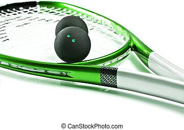 verde, calabaza, raqueta, pelotas, blanco