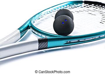 azul, raqueta, blanco, pelotas, calabaza