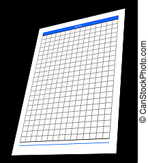 one blank notepad organizer, empty spreadsheet, isolated -...