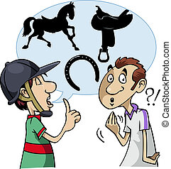 Equestrian slang - Cartoon-style illustration: a young...