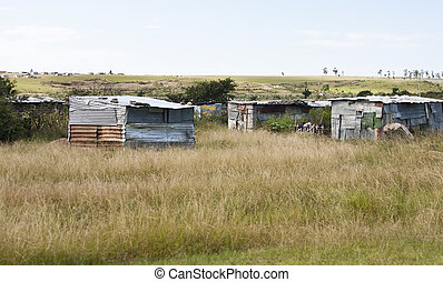 Shacks in Transkei South Africa corrigated iron shanty poor