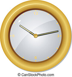 clock in a wooden frame. vector