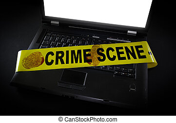 laptop with crime scene tape across it and fingerprints