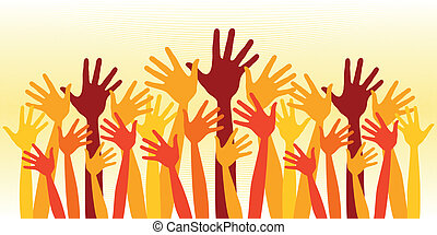 Huge crowd of happy hands - Huge crowd of happy hands vector...