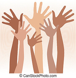 Happy hands in skin tones - Happy hands in skin tones vector...