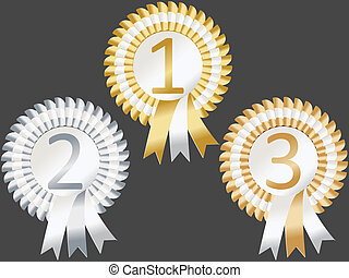 First Second Third rosettes - Rosettes to represent first,...