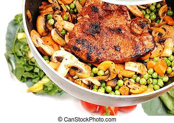 preparando, carne, vegetales, almuerzo, muy, delicioso,...