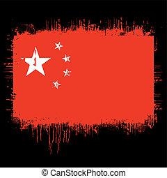 flag of china - grunge illustration of flag of china on...