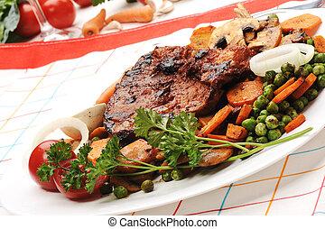 carne, verdes, legumes,  -, Preparado, servido, refeição