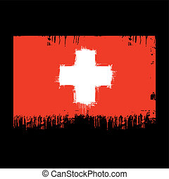 flag of Switzerland - grunge illustration of flag of...