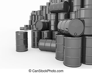 Barrels on white isolated background. - Oil and Petroleum....