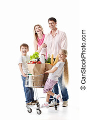 Family shopping - Family with cart with purchases isolated