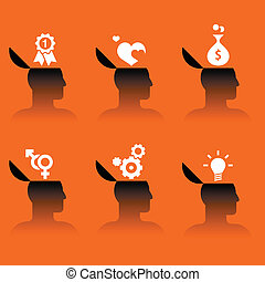 human head with various objects - set of vector icons of...