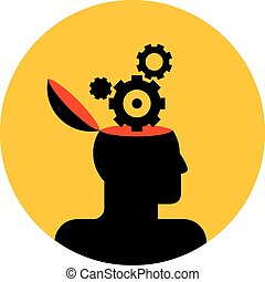 human head with gear wheels - vector icon of human head with...