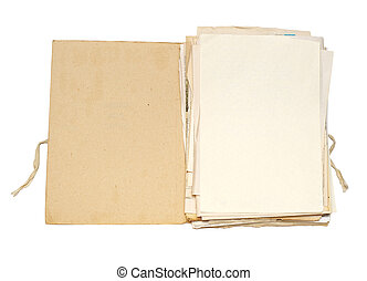 Old folder with papers - Open file with sheets of paper