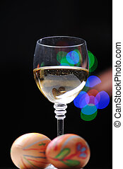 Easter colorful eggs with wine