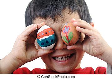 卵, 幸せ, イースター, 子供
