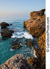 Mediterranean sea - Rocks and Mediterranean sea in Nerja,...