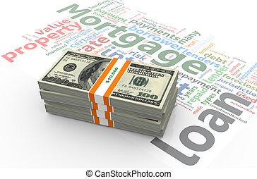 Dollar bills on mortgage wordcloud - 3d render of dollar...
