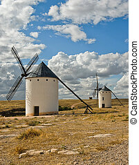 Medieval windmills on a hill