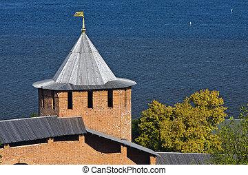 White tower of Nizhny Novgorod Kremlin, Russia