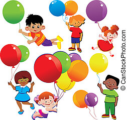 Children - Children flying on balloons Happy childhood...