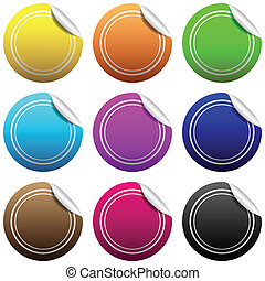 Paper stickers - Illustration of paper stickers in various...
