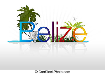 Belize - High Resolution graphic of Belize with palm trees;...