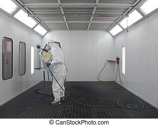 painter - The image of painter works in a spray booth