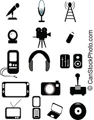media icons vector - vector format media icons in silhouette...