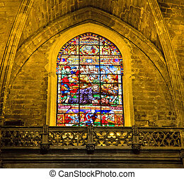 Stained-glass window in La Giralda, Seville, Spain