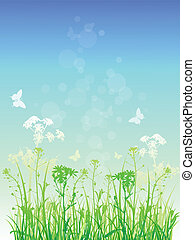 Floral background with green grass - Vector floral...