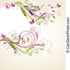 Round floral banner