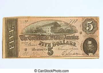Obsolete five dollar bill - Obsolete Confederate States of...