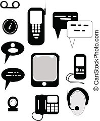 communications icons - icons in silhouette on white for...