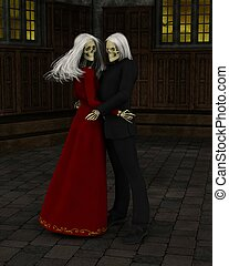 Haunted Ballroom - Skeleton dance couple in a shadowy...