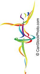 abstratos, balé, dançarino