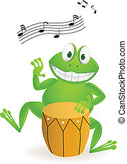 Music frog - Vector illustration of frog cartoon playing...