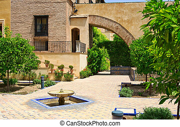 Alcazar Palace - Garden in the Alcazar Palace, Seville,...