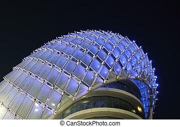 Yas Marina Hotel illuminated at night, Abu Dhabi