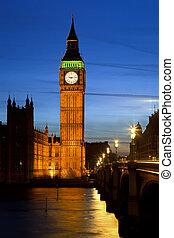 Big Ben in London at night, UK, 2009