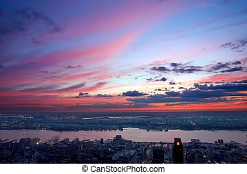sunset over New Jersey - Beautiful sunset over New Jersey,...