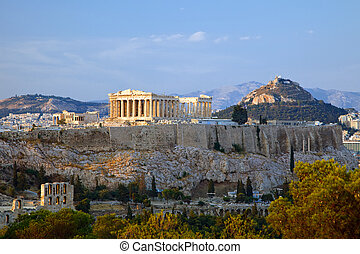 Acropolis - View on Acropolis at sunset, Athens, Greece